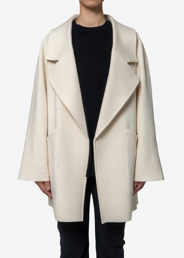 Bonding Jacquard Half Coat in Ivory