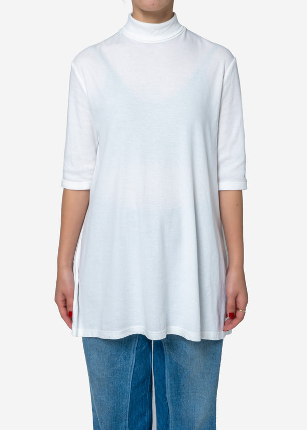 Cosmorama Smooth  High neck Long Flare Top in White