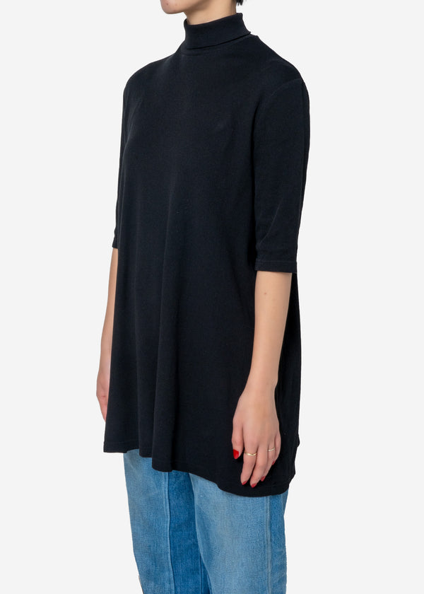 Cosmorama Smooth  High neck Long Flare Top in Black