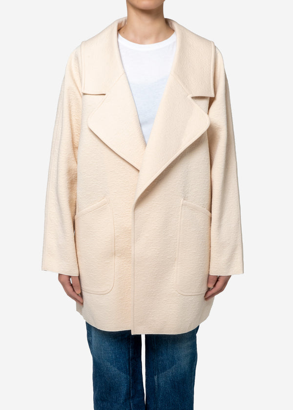 High Gauge Bonding Spring JQ Half Coat in Cream