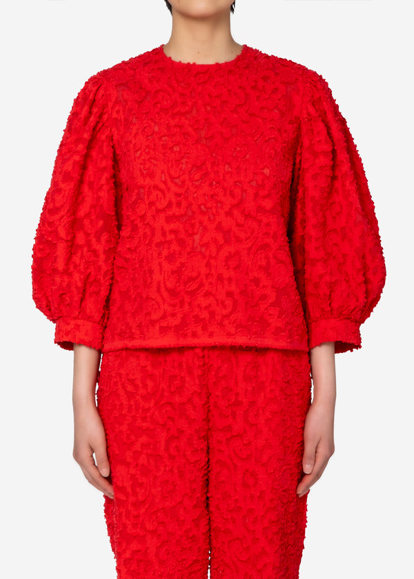 Original Flower Cut JQ Puff Blouse in Red