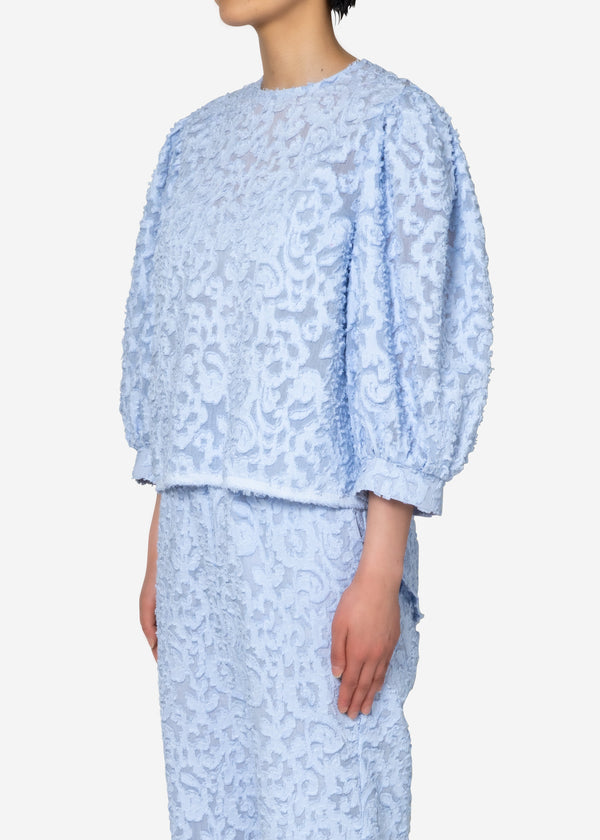 Original Flower Cut JQ Puff Blouse in Light Blue