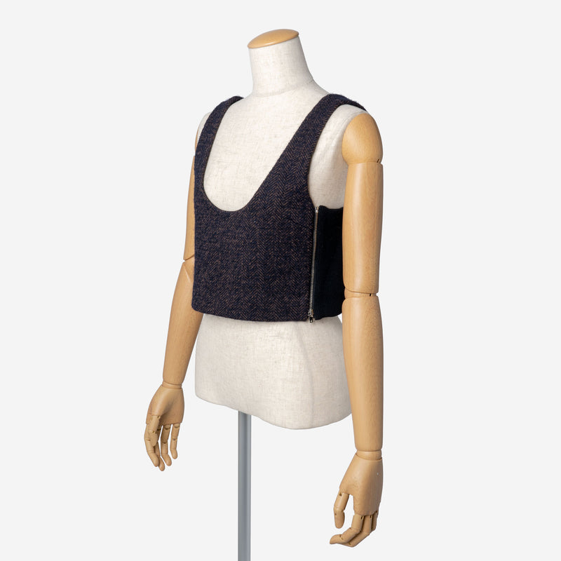 Alpaca Herringbone Sleeveless in Brown Mix