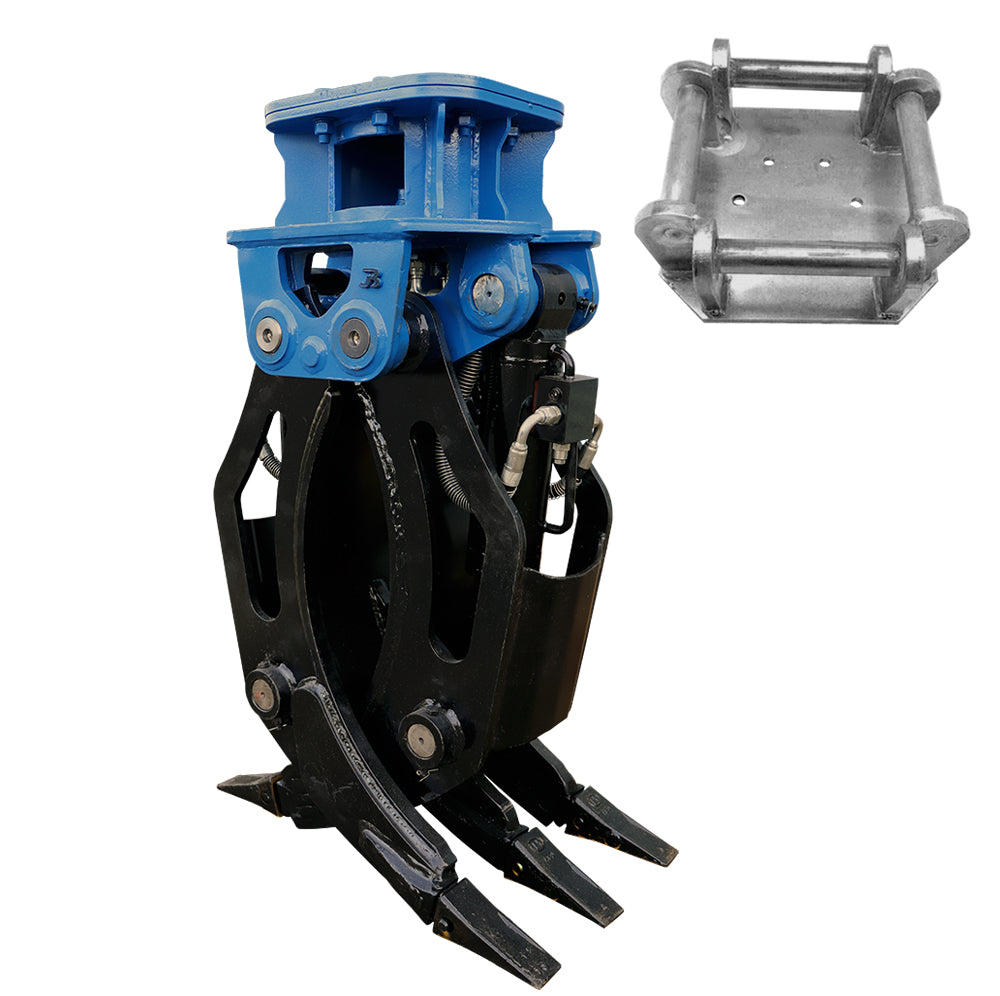 Hydraulic Fixed 2-Way General Purpose HD Excavator Grapple - 4-6 Tonne
