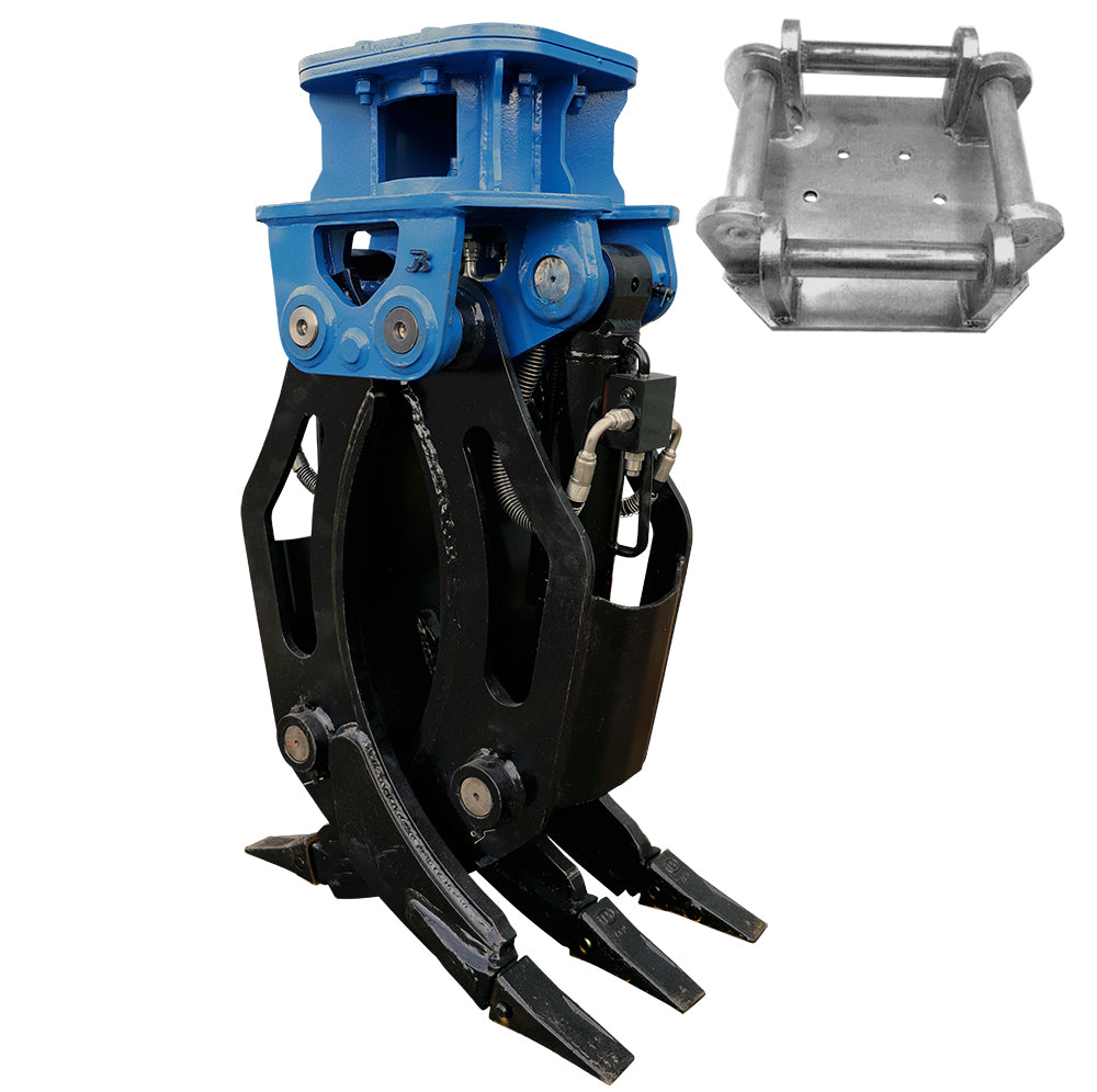 Hydraulic Fixed 2-Way General Purpose HD Excavator Grapple - 6-10 Tonne