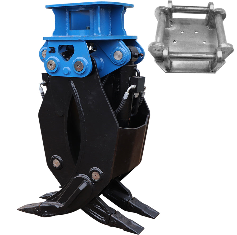 Hydraulic Fixed 2-Way General Purpose HD Excavator Grapple - 18-25 Tonne