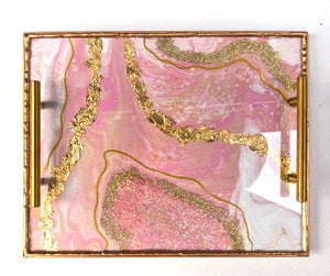 Geode Inspired Rolling Tray - Pink