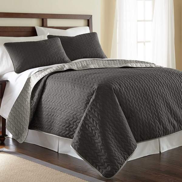 Solid Reversible Coverlet Leaf - 3 Piece Set