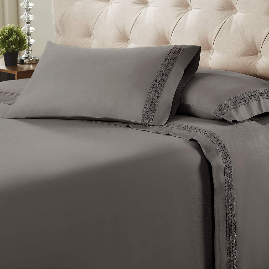 Avenue Lace Hem 4-Piece Sheet Set - Charcoal