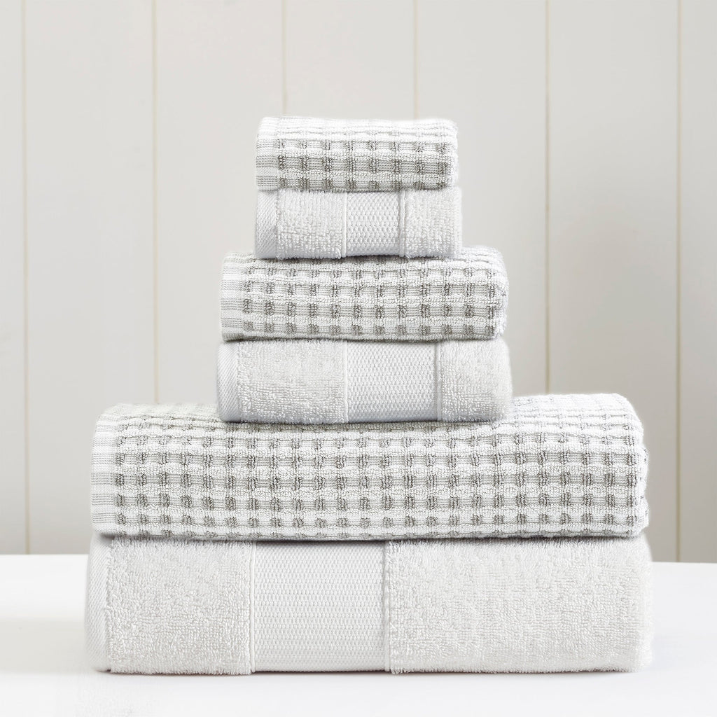 Yarn Dyed Cobblestone Jacquard 6-Piece Towel Set