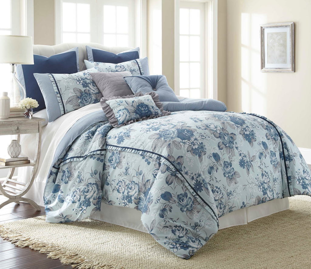 8 Piece Floral Farmhouse Comforter Set
