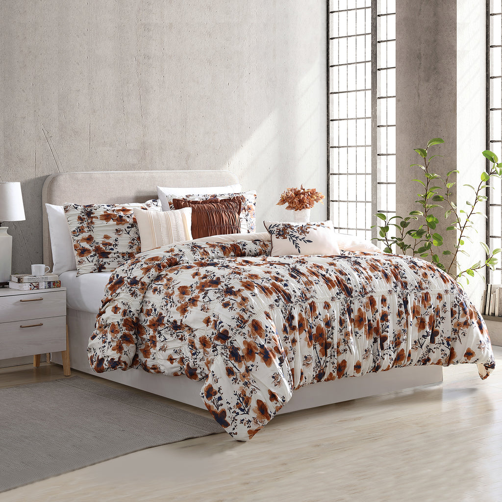 6 Piece Floral Ridge Printed Comforter Set