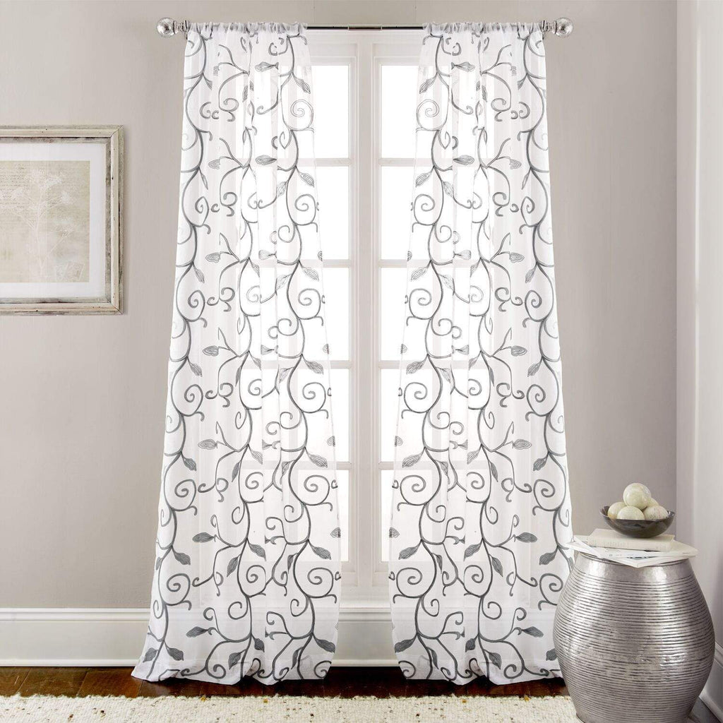 Embroidered Sheet Panel Curtains - 2 Pack