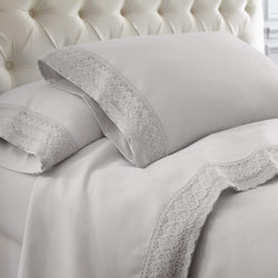 Chochet Lace Microfiber Sheet Set - 3 Piece - Dove Grey