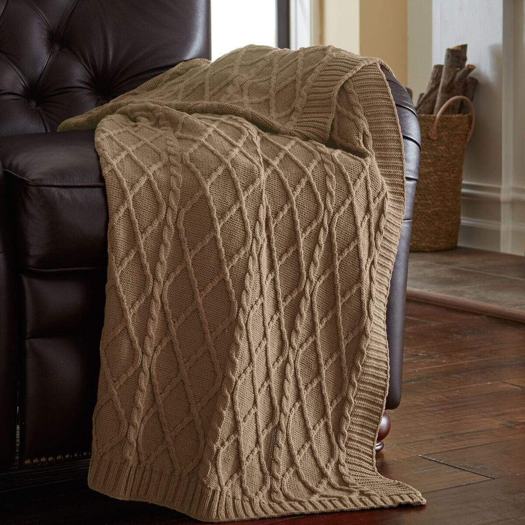 Oversized Diamond Knit Antique Throw