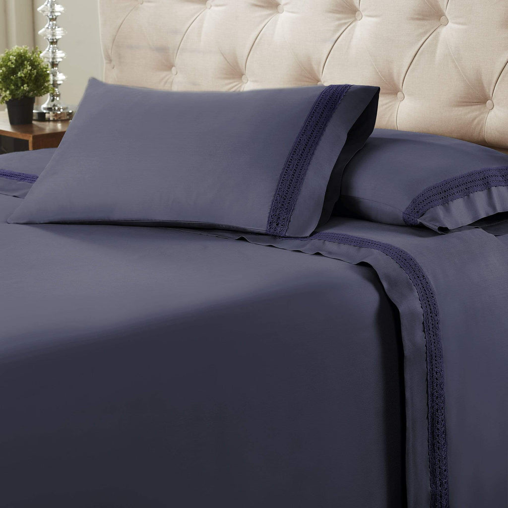 Avenue Lace Hem 4-Piece Sheet Set - Indigo