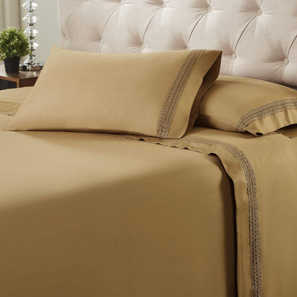 Avenue Lace Hem 4-Piece Sheet Set - Coffee