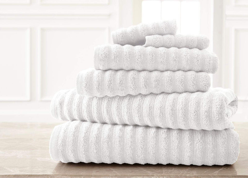 Wavy White Luxury Spa Collection Bath Towel Set - 6 Piece