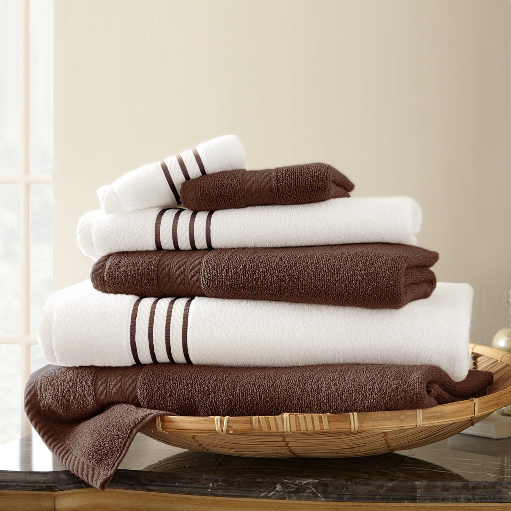 Quick Dry Stripe Bath Towels - 6 Piece Set