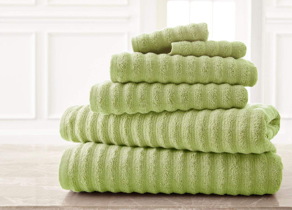 Wavy Sage Luxury Spa Collection Bath Towel Set - 6 Piece