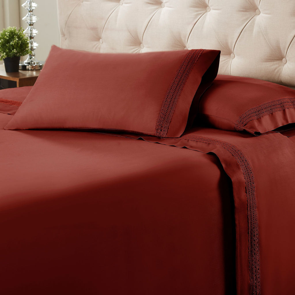 Avenue Lace Hem 4-Piece Sheet Set - Merlot