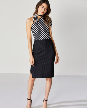 Sang-Froid Striped Ponte Skirt