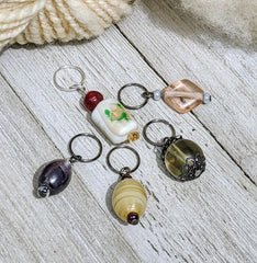 large stitch markers in ceramic or glass beads for knitting or crochet