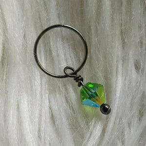 green faceted crystal glass bead dangle on dark gunmetal black ring