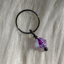 Load image into Gallery viewer, purple faceted crystal glass bead dangle on dark gunmetal black ring