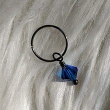 Load image into Gallery viewer, blue faceted crystal glass bead dangle on dark gunmetal black ring