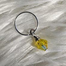 Load image into Gallery viewer, yellow faceted crystal glass bead dangle on silver ring