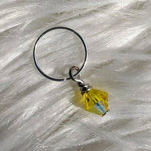 yellow faceted crystal glass bead dangle on silver ring