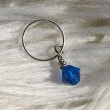 Load image into Gallery viewer, blue faceted crystal glass bead dangle on silver ring