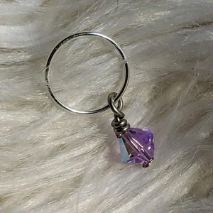 purple faceted crystal glass bead dangle on silver ring