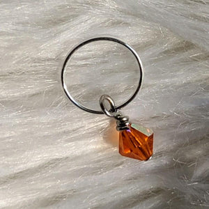 orange faceted crystal glass bead dangle on silver ring