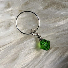Load image into Gallery viewer, green faceted crystal glass bead dangle on silver ring