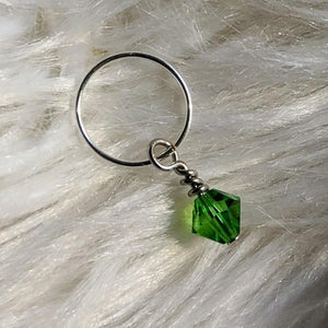 green faceted crystal glass bead dangle on silver ring