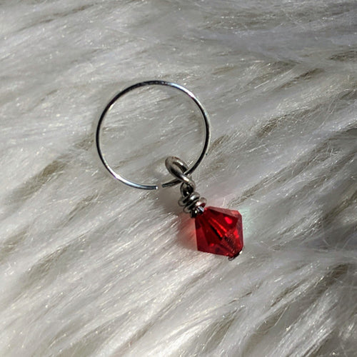 red faceted crystal glass bead dangle on silver ring