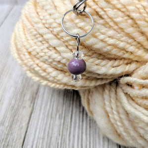 stitch marker for knitting or crochet with creamy purple ceramic and crystal beads on silver