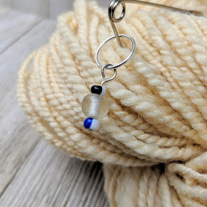stitch marker for knitting or crochet with frosted clear and multicolor glass beads on silver