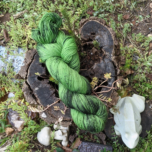 Spooky Yarn in Bright Green with Black Speckles