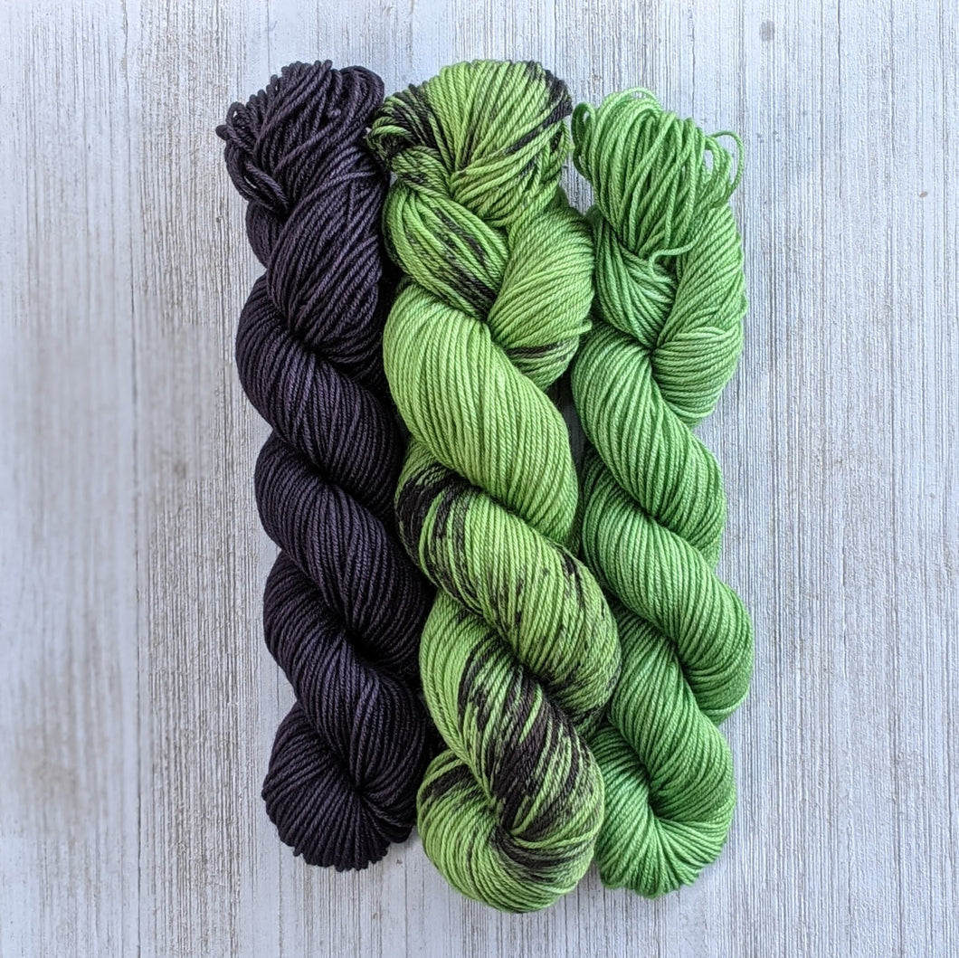 Yarn Project Sets in Rose Garden Alien Purple Spooky Green