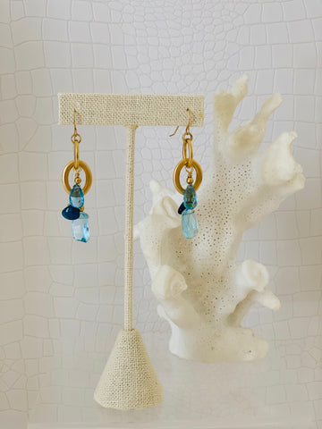 Blue Quartz Cluster Earring