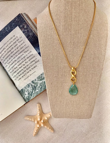 Apatite Quartz Teardrop Necklace
