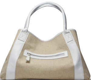Michelle White Linen/Leather tote bag