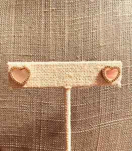 Mother of pearl heart shaped stud earrings
