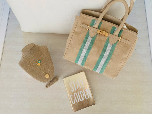 Ivory Jute-Light Green Beads Handbag