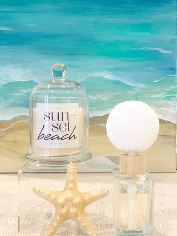 Sun Set Beach Candle Jar with Glass Dome