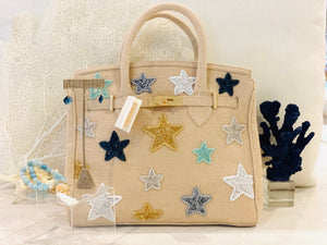 Ivory Jute-Light Stars in Summer Handbag