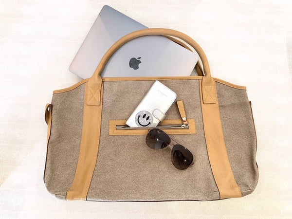 Michelle Camel Linen/leather Tote Bag